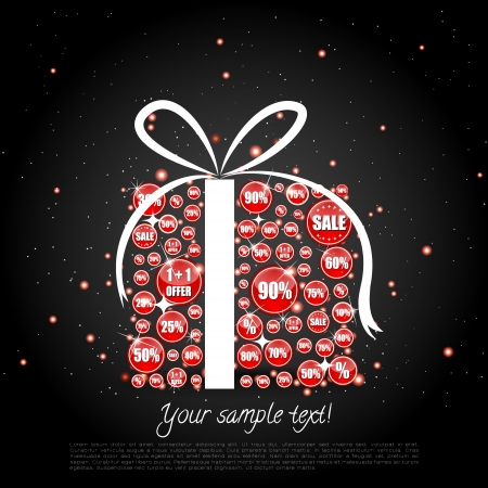 Glittering Christmas gift made of sale banners Stock Vector - 15063037