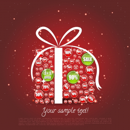 Glittering Christmas gift made of sale banners where some are highligted Vector