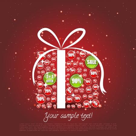 fita: Glittering presente de Natal feita de venda de banners, onde alguns s?o highligted Ilustra��o