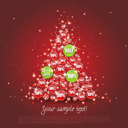 discount banner: Christmas tree made of sale banners where some are highlighted Illustration