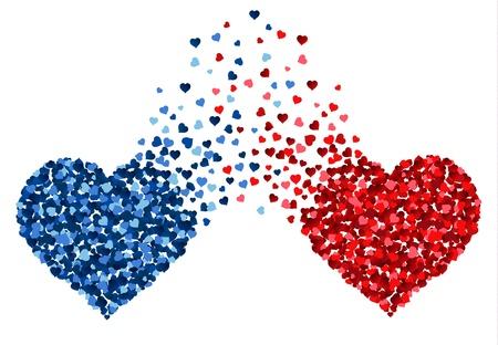 Dos corazones hechos de pequeños corazones mezclan entre sí