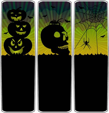 Halloween banners with pumpkin column, skull with spider and spider web Stock Vector - 15063018