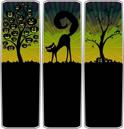 Halloween banners with pumpkins tree, black cat and bare tree Stock Vector - 15063017