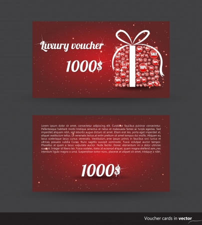 Luxury voucher card for shopping with a gift, front and back side