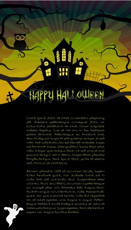 Halloween card with a scary house hidden behind branches Stock Vector - 15145061