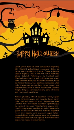 trick: Halloween card with a scary house hidden behind branches