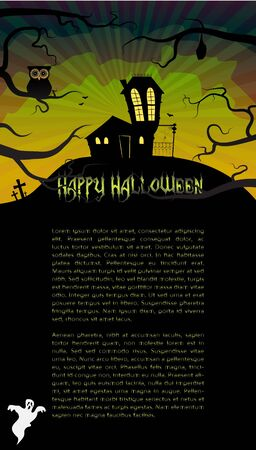 Halloween card with a scary house hidden behind branches Stock Vector - 15145060