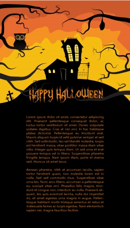 Halloween card with a scary house hidden behind branches Vector