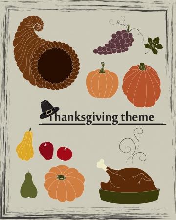 harvest cone cornucopia: Collection of pumpkins, pears, apples, grapes, cornucopia, turkey and pilgrim