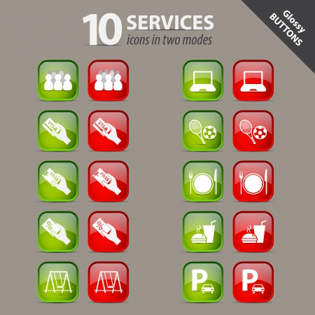 Collection of services glossy buttons Vector
