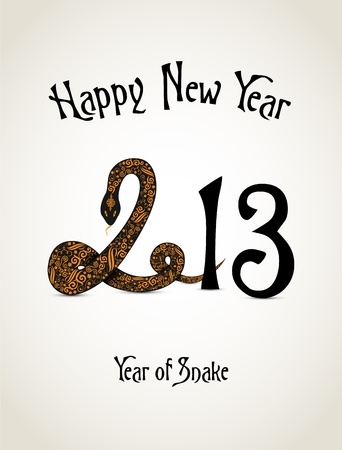 New Year card with snake representing a year of snake Stock Vector - 16188059