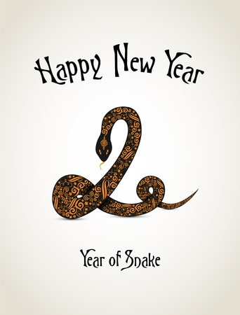 New Year card with snake representing a year of snake Vector