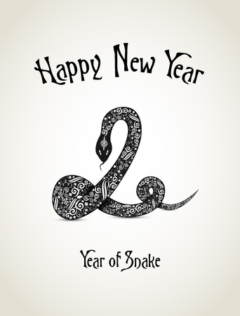 New Year card with snake representing a year of snake Stock Vector - 16188060