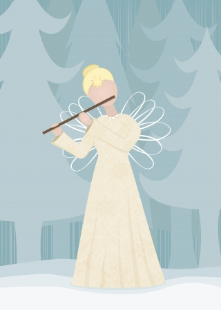 Retro angel playing on a flute in snowy landscape Vector