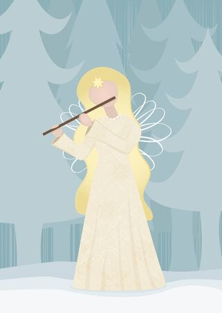 Retro angel playing on a flute in snowy landscape Stock Vector - 16453720