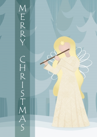 flutes: Retro angel playing on a flute in snowy landscape