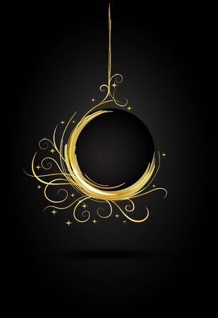 Golden Christmas ball card  Vector