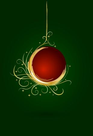 Golden Christmas ball card  Stock Vector - 16453808