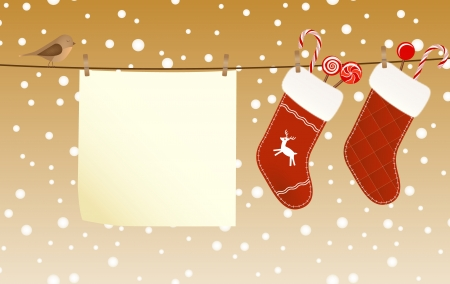 white socks: Christmas socks full of candies hanged on a clothesline next to a piece of paper