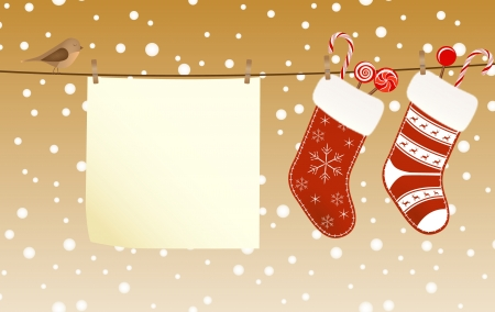 Christmas socks full of candies hanged on a clothesline next to a piece of paper Vector