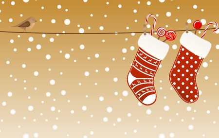 new year  s day: Christmas socks full of candies hanged on a clothesline