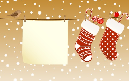 cane sugar: Christmas socks full of candies hanged on a clothesline next to a piece of paper