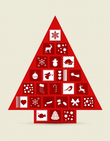 december calendar: Abstract Christmas tree made of drawers with icons
