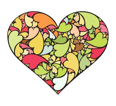 Heart made of collection of small hearts Stock Vector - 17296982