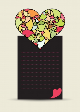 Valentine card with hearth made of small hearts on dark paper Stock Vector - 17296993