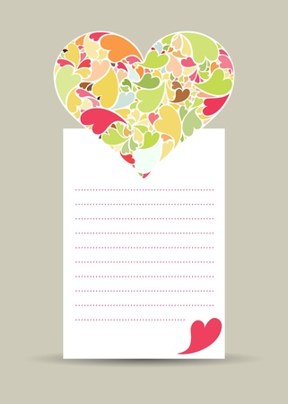 Valentine card with hearth made of small hearts on white paper Stock Vector - 17297009