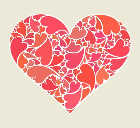 Heart made of collection of small hearts Stock Vector - 17296996