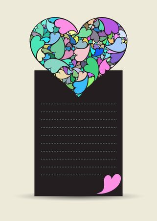 Valentine card with hearth made of small hearts on dark paper Stock Vector - 17297007