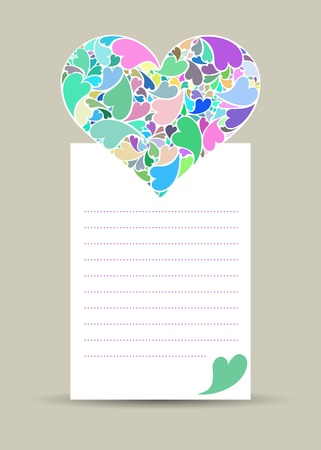 Valentine card with hearth made of small hearts on white paper Stock Vector - 17297006