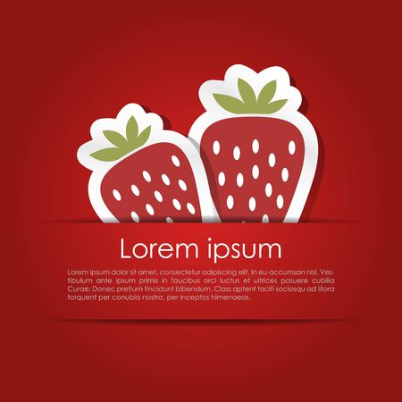 Simple card with a couple of abstract strawberries in vector Vector