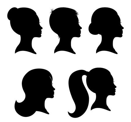 pelo ondulado: Colecci�n de siluetas de mujer de perfil con diferentes estilos de cabello aislado en blanco