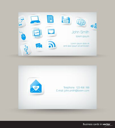 Technology business visit card with flying icons on light background  Vector