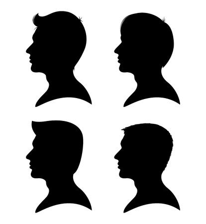 man face profile: Colecci�n de siluetas de hombre de perfil con diferentes estilos de cabello aislado en blanco Vectores