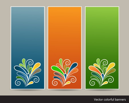 Collection of spring vertical colorful banners with ornaments