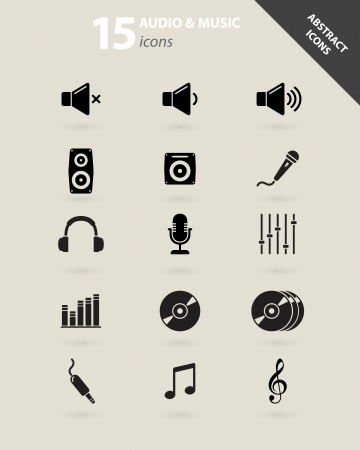 Collection of abstract audio and music icons