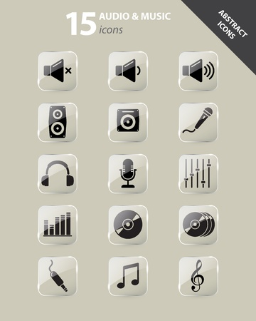 speaker icon: Collection of abstract audio and music icons under glass Illustration