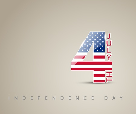 Independence day card with number four decorated as an american flag Vector