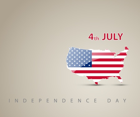 Independence day card with map of America decorated as an american flag Vector