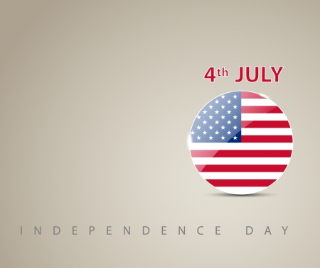 Independence day card with circle decorated as an american flag