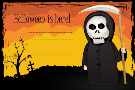 Halloween card with Death with scythe on colorfull background Vector