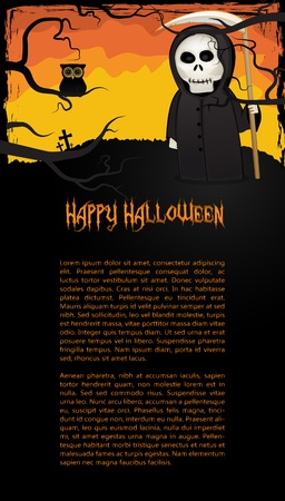 Vertical Halloween card with Death with scythe on colorfull background Illustration