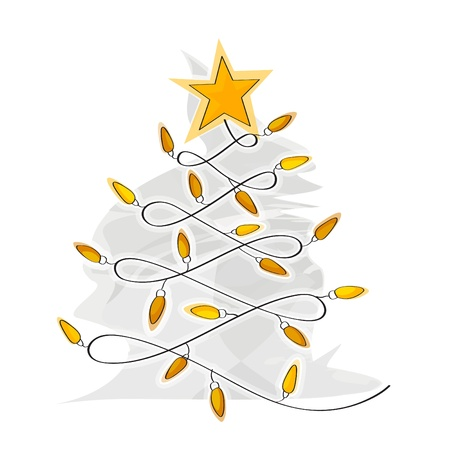 Abstract Christmas Tree made of light bulb wire Stock Vector - 21989897