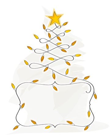 Abstract Christmas Tree made of light bulb wire banner Illustration