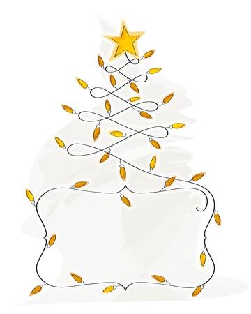 Abstract Christmas Tree made of light bulb wire banner Ilustração
