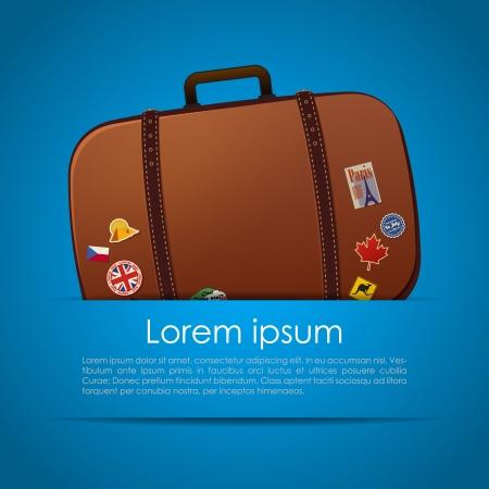 siervo: Tarjeta de verano simple con la maleta en el bolsillo
