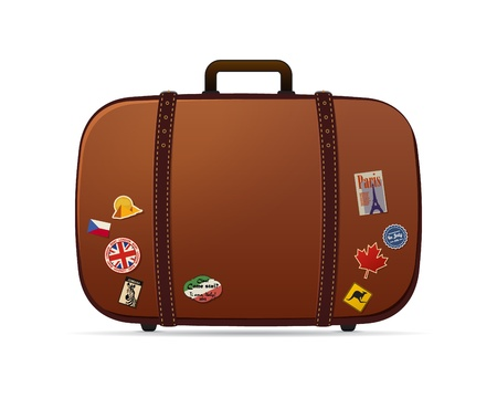 siervo: Retro maleta vector con pegatinas en él aisladas en blanco